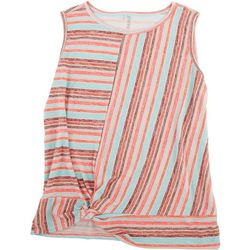 Silverwear Petite Striped Sleevless Top With Knot Feature