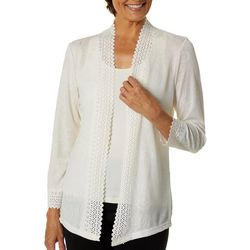 C & H Alliance Petite Solid Glitzy Open Front Cardigan