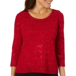 C&H Alliance Petite Solid Eyelet Embellished Top