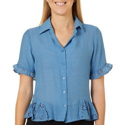 C&H Alliance Petite Solid Eyelet Ruffle Camp Top