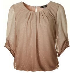 Sara Michelle Petite Ombre Glitter Pleated Sleeve Top