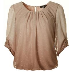 Petite Ombre Glitter Pleated Sleeve Top