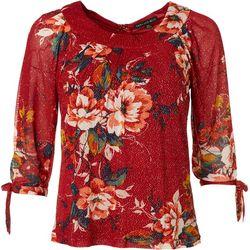 Sara Michelle Petite Floral Glitter Tie Sleeve Top