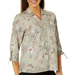 Erika Petite Floral Print Button Down Tie Sleeve Top