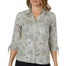 Erika Petite Floral Print Button Down Tie Sleeve Top
