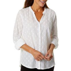 Erika Petite Carleigh Solid Dot Embellished Button Down