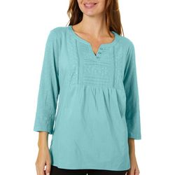 Erika Petite Nadine Solid Eyelet Embroidered Top