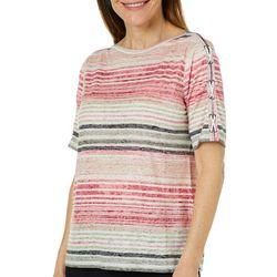 Erika Petite Aubree Stripe Print Crisscross Burnout Top