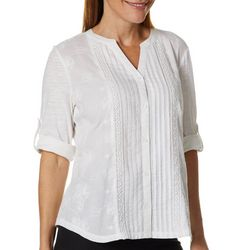 Erika Petite Embroidered Pleated Button Down Top