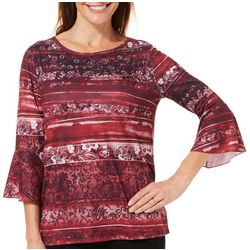 Erika Petite Vivica Floral Lace Print Bell Sleeve Top
