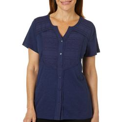Erika Petite Adalyn Embroidered Pleated Button Down Top