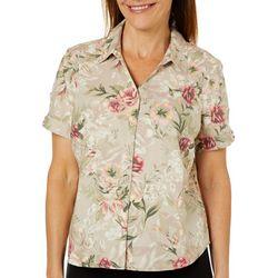 Erika Petite Rose Print Short Sleeve Button Down Top
