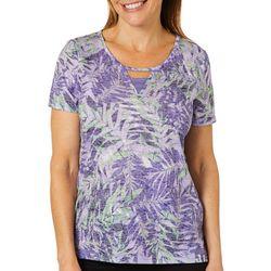 Erika Petite Eva Tropical Palm Print Burnout Top
