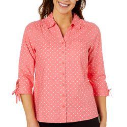 Erika Petite Polka Dot Button Down Tie Sleeve Top
