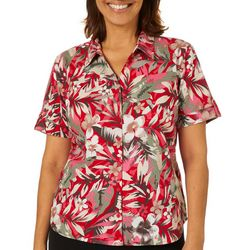 Erika Petite Genevieve Tropical Floral Button Down Top