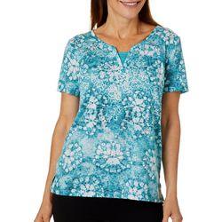 Erika Petite Maxi Embellished Mirror Batik Print Top