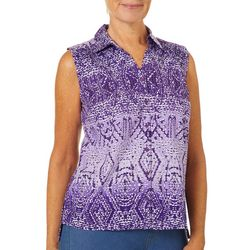 Erika Petite Declan Tribal Ombre Printed Sleeveless Top