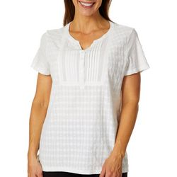 Erika Petite Harlow Embroidered Pleated Bib Front Top