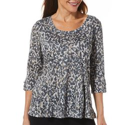 Erika Petite Cheetah Animal Print Embellished Top