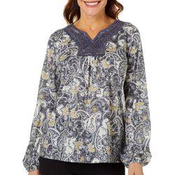 Erika Petite Teresa Embroidered Paisley Long Sleeve Top