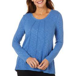 Erika Petite Solid Textured Long Sleeve Top