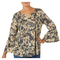 Erika Petite Jenna Pleated Floral Print Burnout Top