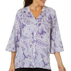 Erika Petite Sophia Button Down Paisley Print Top