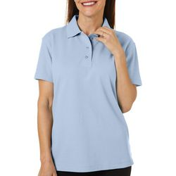 Erika Petite Leslie Solid Short Sleeve Polo