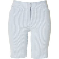 ATTYRE Petite Pin Striped Bermuda Shorts