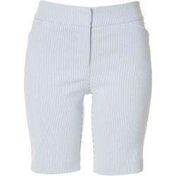 Petite Pin Striped Bermuda Shorts
