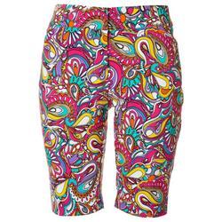 Petite Paisley Bermuda Shorts