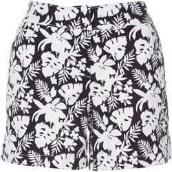 Petite Recreation Black and White Tropical Printed Shorts