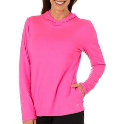 Reel Legends Petite Ultra Comfort Solid Hooded Neck Top
