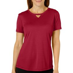 Reel Legends Petite Freeline Solid Keyhole T-Shirt