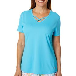 Reel Legends Petite Freeline Solid Lattice Neck Top