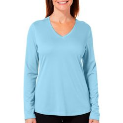 Reel Legends Petite Freeline Solid V-Neck Long Sleeve Top