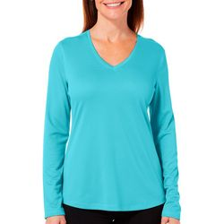 Reel Legends Petite Freeline Shimmer V-Neck Long Sleeve Top