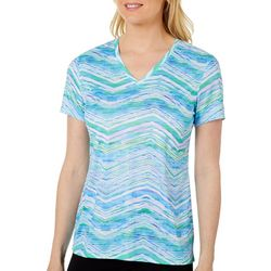 Reel Legends Petite Reel-Tec Watercolor Chevron V-Neck Top