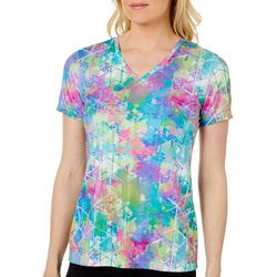 Reel Legends Petite Reel-Tec Digital Explosion V-Neck Top