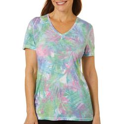 Reel Legends Petite Bayou Palms Ribbed V-Neck Top