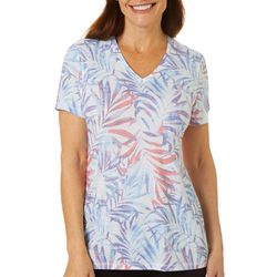 Reel Legends Petite Splatter Palms Ribbed V-Neck Top