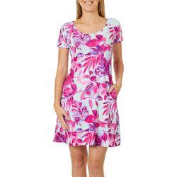 Reel Legends Petite Keep It Cool Painterly Leaves Dress