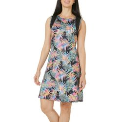 Reel Legends Petite Keep It Cool Watercolor Palm Dress
