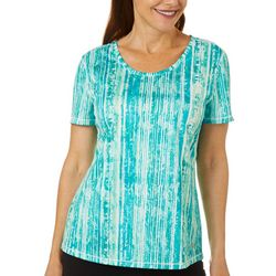 Reel Legends Petite Freeline Blurred Lines Scoop Neck Top