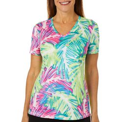 Reel Legends Petite Freeline Sketched Palms Shimmer Top