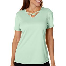 Reel Legends Petite Freeline Shimmer Criss Cross V-Neck Top