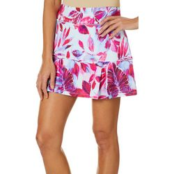 Reel Legends Petite Keep It Cool Painterly Leaves Skort