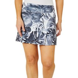 Reel Legends Petite Keep It Cool Watercolor Leaves Skort