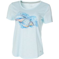 Reel Legends Petite Watercolor Shell Graphic T-Shirt