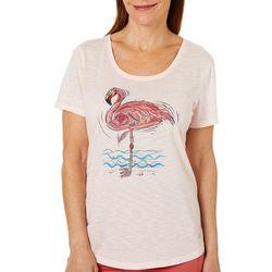 Reel Legends Petite Sketched Flamingo T-Shirt